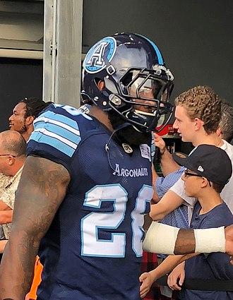 Akeem Jordan - Akeem Jordan before a Toronto Argonauts game in 2018.