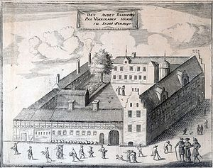 Nørregade - The city hall and later bishop's palace on the corner as Erik Pontoppidan imagined it in 1760