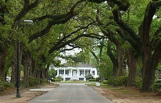 Spring Hill (Mobile, Alabama) - Stewartfield (1850), one of several surviving antebellum summer houses, and its avenue of live oaks.