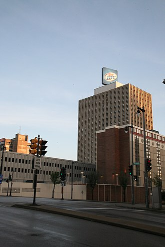 Clark Brands - Former Clark Building (with Miller Lite sign), originally the headquarters for the Clark Oil and Refining Company.