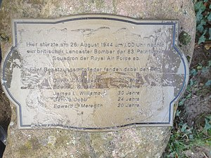 No. 83 Squadron RAF - Small Memorial Stone for the killed crew of a shot-down Lancaster of 83rd Pathfinder Sq. in Heusenstamm, Germany