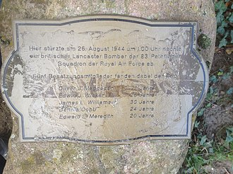 No. 83 Squadron RAF - Small Memorial Stone for the killed crew of a shot-down Lancaster of 83 (Pathfinder) Squadron. in Heusenstamm, Germany