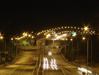 Transport in Cyprus - Night view between Agios Athanasios junction and Mesa Geitonia junction in Limassol