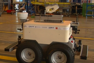 Laboratory for Analysis and Architecture of Systems - In industrial robotics, LAAS-CNRS participates to the French project Air-Cobot. Picture of the robot in an hangar of Air France Industries.