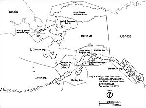 Alaska Native Claims Settlement Act - Regional corporations established by the Alaska Native Claims Settlement Act.