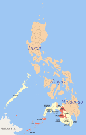 Bangsamoro peace process - Areas in Mindanao Philippines under Autonomous Region in Muslim Mindanao are in red.