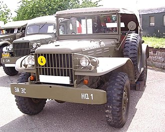 Military light utility vehicle - The Dodge WC series was built in some 50 variants. Shown a command / radio car, and an ambulance behind it