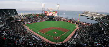 AT&T Park at sunset overlooking McCovey Cove