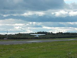 Mikkeli Airport - Image: A Cessna 152 taking off at Mikkeli Airport