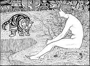 Arthur Gaskin - Puss in boots  from A Book of Fairy Tales retold by S.Baring-Gould (Methuen, 1894)