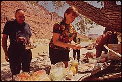 A Lunch Break During a River Trip Down the Colorado from Moab. Several Local Outfits Offer Such Trips. They Are the Main Means of Providing an Experience of Wilderness to Visitors to the Area, 05-1972 (3857079712).jpg