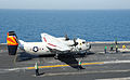 A U.S. Navy C-2A Greyhound aircraft assigned to Fleet Logistics Support Squadron (VRC) 40 takes off from the aircraft carrier USS George H.W. Bush (CVN 77) June 25, 2014, in the Persian Gulf 140625-N-MU440-044.jpg