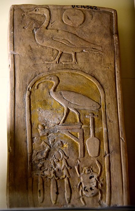 A fragment of a wall block. The hieroglyphs Son of Ra were inscribed over the cartouche of the birth-name of Thutmose III. 18th Dynasty. From Egypt. The Petrie Museum of Egyptian Archaeology, London A fragment of a wall block. The hieroglyphs Son of Ra were inscribed over the cartouche of the birth-name of Thutmos III. 18th Dynasty. From Egypt. The Petrie Museum of Egyptian Archaeology, London.jpg