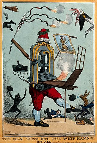 Image of printing press with legs holding a quill
