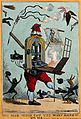 A printing press with a pair of legs brandishes a quill wrap Wellcome V0039930.jpg