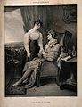 A sick husband holds the hand of his wife. Lithograph by C. Wellcome V0015154.jpg