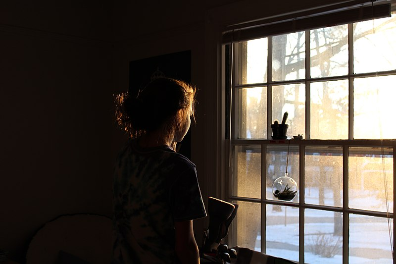 File:A woman looking out the window (Unsplash).jpg
