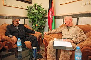 Nimruz Province - Former governor Abdul Karim Barahawi and Maj. Gen. John A. Toolan, commanding general of Regional Command Southwest, discussing issues in June 2011.