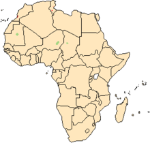 Map of Africa, showing a highlighted range (in green) covering three small areas in Mauritania, Niger and Chad