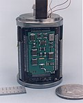 Advanced Microcontroller mounted on the forebody of Deep Space 2 Q2PrismAMC.jpg