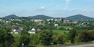 Aegidienberg - View of Aegidienberg, in the background the Siebengebirge: left to right Löwenburg, Lohrberg, Großer Ölberg