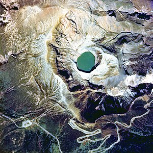 Mount Zaō - Image: Aerial photo of Okama, the crater lake of Mt. Zaō in 1976
