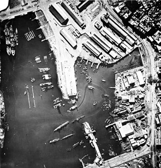 Naval Battle of Casablanca - Aerial view of Casablanca harbour, 9 November. Jean Bart is at the far left. Note the sunken ships in the center.