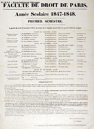 Paris Law Faculty - Image: Affichefacdroit Paris 1847