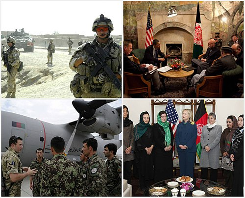 From upper left, clockwise - Canadian troops in Kandahar; American president Barack Obama meets Afghan leader Hamid Karzai in March 2010; US Secretary of State Hillary Clinton with female politicians in Kabul in October 2011; An officer of the RAF explains a C-27 of the Afghan air force to 'Thunder Lab' students in July 2011 Afghan history from 2008-2011.jpg