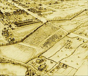 "African Burial Ground National Monument - The ""Negros Burial Ground"" near the Collect Pond, looking south (late 1700s map)"