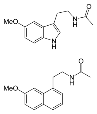 Agomelatine - Melatonin (top) vs. agomelatine (bottom)