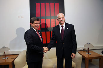 Prime Minister of Greece George Papandreou and...