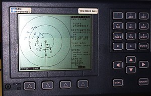 Automatic identification system - An AIS-equipped system on board a ship presents the bearing and distance of nearby vessels in a radar-like display format.