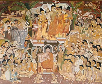 Many foreign ambassadors, representatives, and travelers are included as devotees attending the Buddha's descent from Trayastrimsa Heaven; painting from Cave 17 of the Ajanta Caves.