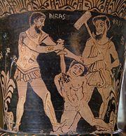 Ο Αχιλλέας σκοτώνει έναν Τρωαδίτη αιχμάλωτο ενώ ο Χάρων παρακολουθεί. Ερυθρόμορφο αγγείο του 4 αι. π.χ.