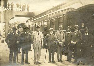 Sir Albert Bowen, 1st Baronet - Sir Albert Bowen (in white suit) at the railway terminus in Lima, Peru, 1923
