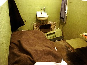 June 1962 Alcatraz escape - Escapee's prison cell, with widened vent opening beneath the sink