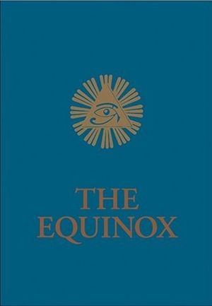The Blue Equinox - The cover of The Blue Equinox, displaying the Eye of Horus, an ancient Egyptian religious symbol adopted into Crowleyan Thelema.
