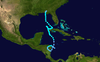 Tropical Storm Alice's track