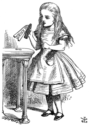 1865 in literature - Alice in a Tenniel illustration from Alice's Adventures in Wonderland