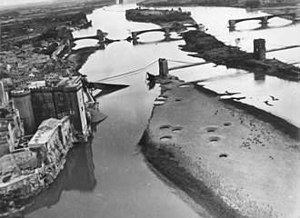 Tarascon - Bridges across the Rhone after the Allied bombings of 1944
