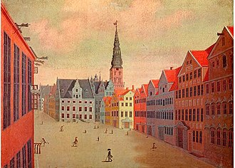 Amagertorv - Amagertorv depicted by J. Rach and H. H. Eegberg in 1749, featuring a combination of 17th- and 18th-century buildings