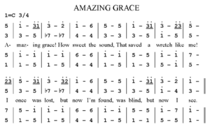 """Numbered musical notation - The hymn """"Amazing Grace"""" written in numbered musical notation."""