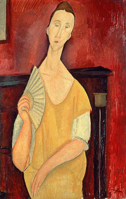 Amedeo Modigliani, 1919, Woman with a Fan, oil on canvas, 100 x 65 cm, Musée d'Art Moderne de la Ville de Paris.jpg