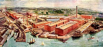 American Printing Company (Fall River Iron Works) - Overview of the American Printing Company, Fall River, Massachusetts, about 1910. The Fall River Line and Old Colony Railroad are on the left.