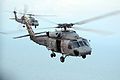An HH-60H Seahawk helicopters assigned to Helicopter Anti-Submarine Squadron 4 depart USS Ronald Reagan (CVN 76) while under way in the Pacific Ocean June 25, 2008, to deliver rice and water to Iloilo 080625-N-HX866-001.jpg