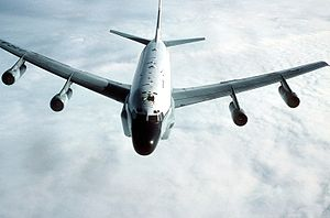 An air-to-air front view of an RC-135 Stratolifter aircraft from the 306th Strategic Wing during a refueling mission over the North Sea DF-ST-89-03604.jpg