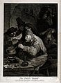 An alchemist hunched over his crucible; an assistant reads h Wellcome V0025532.jpg