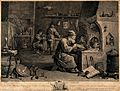 An alchemist with his assistants in his laboratory. Engravin Wellcome V0025541.jpg