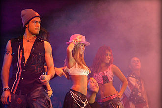 Rebelde (album) - RBD during their concert in Tijuana, Mexico (2005).